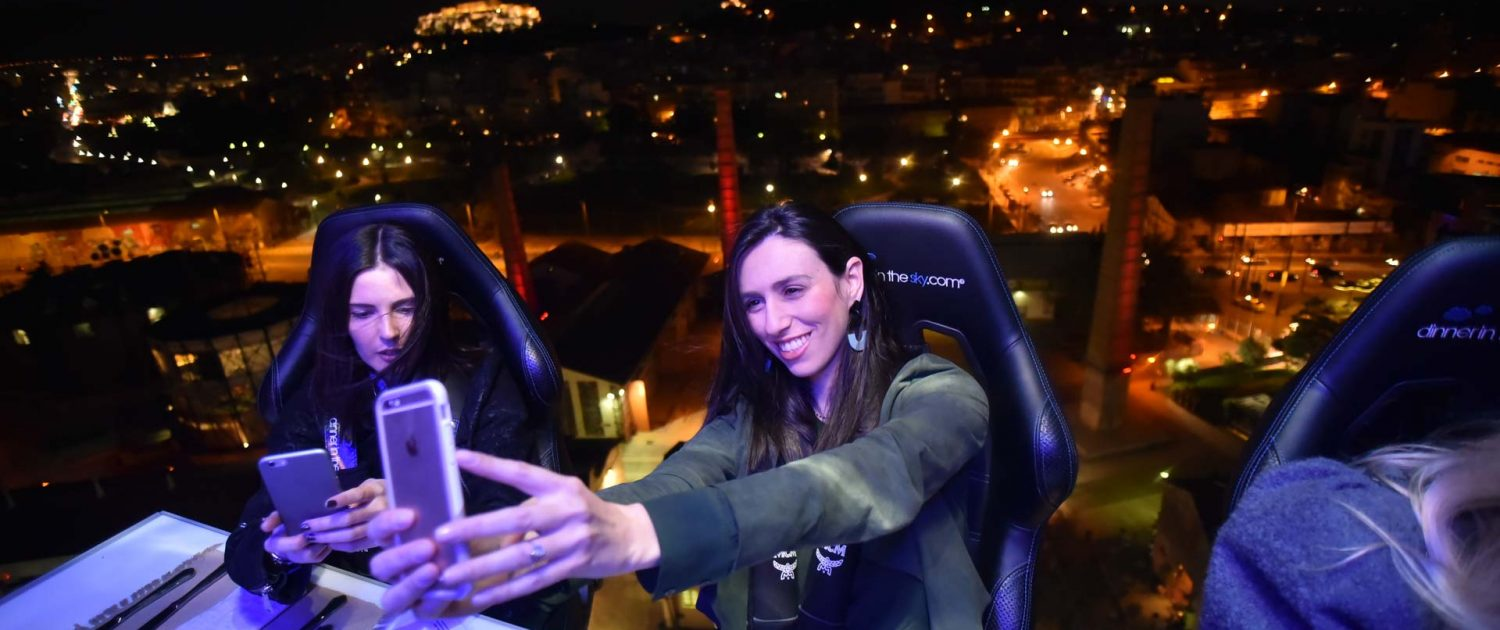 Selfie with magic view of Acropolis dinner in the sky greece